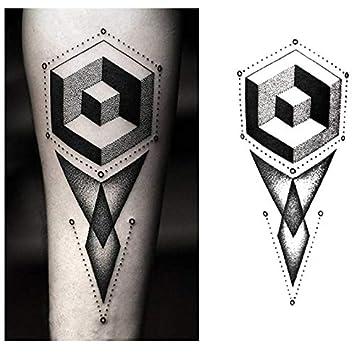 Tatuajes temporales cubos geométricos de antebrazo, para hombre y ...