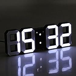 FidgetGear Multi-Function Large 3D LED Digital Wall Clock Alarm Snooze Function 12h/24h