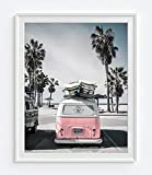 Volkswagen Vw bus van at beach ocean nautical photography print - UNFRAMED - coastal palm trees home and wall decor, 8x10 inches