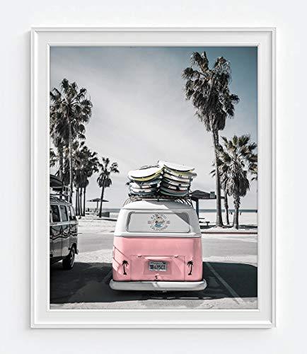 Volkswagen Vw bus van at beach ocean nautical photography print - UNFRAMED - coastal palm trees home and wall decor, 8x10 inches - Coastal Palm Decor Trees