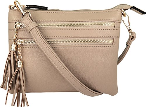 Vegan Mini Multi-Zipper Crossbody Handbag Purse with Tassel Accents (Taupe)