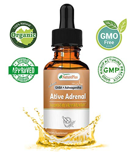 Active Adrenal - NaturePlus Advanced Adrenal Fatigue Supplement,Pure Natural Plant Extract|GABA Oil,Ashwagandha, Vitamins C, Vitamins E & More- 2 FL.OZ