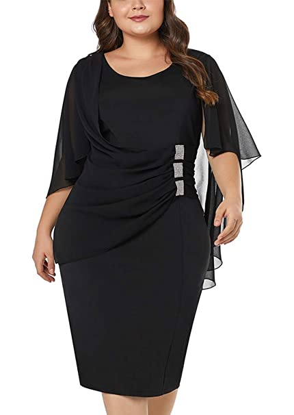 4f6ff967680a0 BarbedRose Women Plus Size Ruffle Cape Sleeve Bodycon Cocktail Party Pencil  Dress S-XXL at Amazon Women s Clothing store
