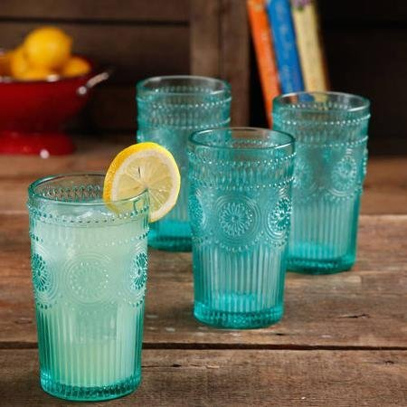 Set of 4, Dishwasher Safe, 16-Ounce Emboss Glass Tumblers, Turquoise -