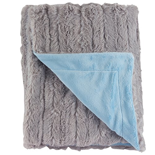 "Ultra Soft Baby Receiving Blanket - Luscious, Luxurious and Cuddly Minky Reversible Blankie - Chinchilla Style Gray and Baby Blue - 30"" x 36"" - by Posh Designs"