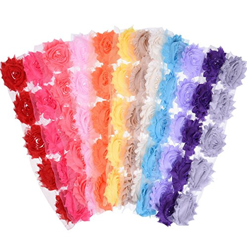 eBoot 60 Pieces 2.5 Inches Chiffon Fabric Flowers Shabby Chic Fabric Roses Frayed Trim Tulle Flower for DIY Bridal Accessory, 12 Colors