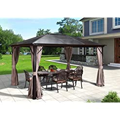Garden and Outdoor EROMMY 10'x12′ Outdoor Hardtop Polycarbonate Gazebo Canopy Curtains Aluminum Frame with Netting for Garden,Patio pergolas