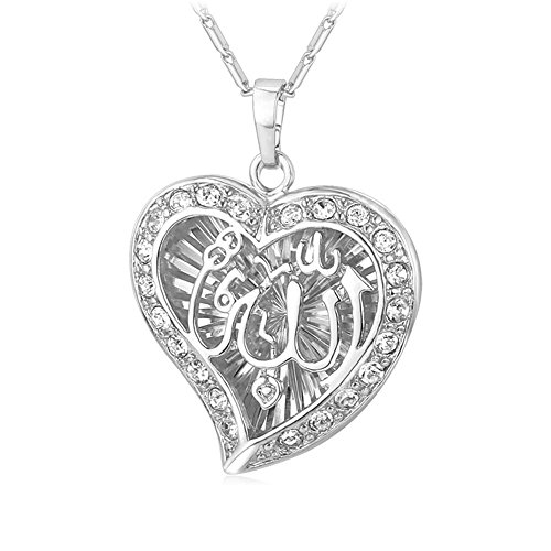 U7 Heart Shaped Allah Pendant Necklace 18K Stamp Platinum Plated Islamic Jewelry