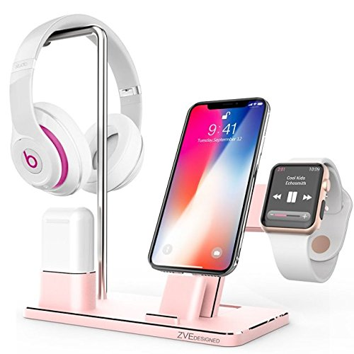 Price comparison product image Apple Watch Stand, ZVE Aluminum Charging Stand Headphone Holder iPhone Charging Stand for Apple Watch Series 3 2 1, iPhone X 8 Plus 8 7 Plus 7 6S Plus 6, AirPods, iPad, iPod- Rose Gold