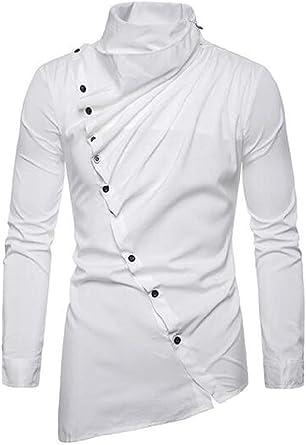 dahuo - Camisa de Vestir asimétrica para Hombre, Manga Larga ...
