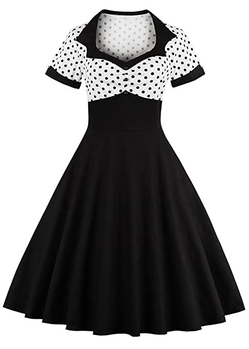 1950s Dresses, 50s Dresses | 1950s Style Dresses Nihsatin Womens Audrey Hepburn Vintage Style Rockabilly Swing Dress $29.99 AT vintagedancer.com