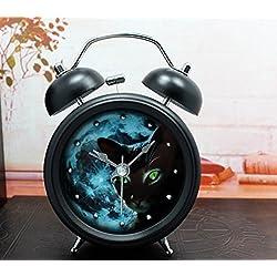 Usany Fashion creative ringing metal clock alarm clock table clock