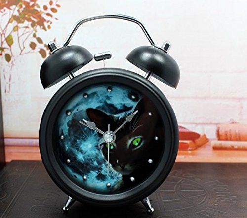 Usany Fashion creative ringing metal clock alarm clock table clock