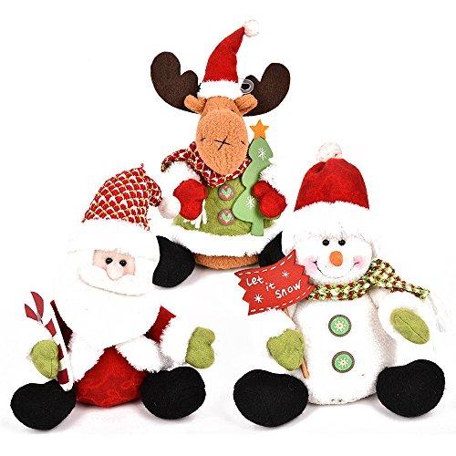 LUCKSTAR Christmas Plush Dolls - Set of 3 Christmas Snowman Santa Elk Plush Toy Soft Plush Stuffed Xmas Figurine Decorations Home Ornament Decoration Toys for Kids Birthday Christmas Gift
