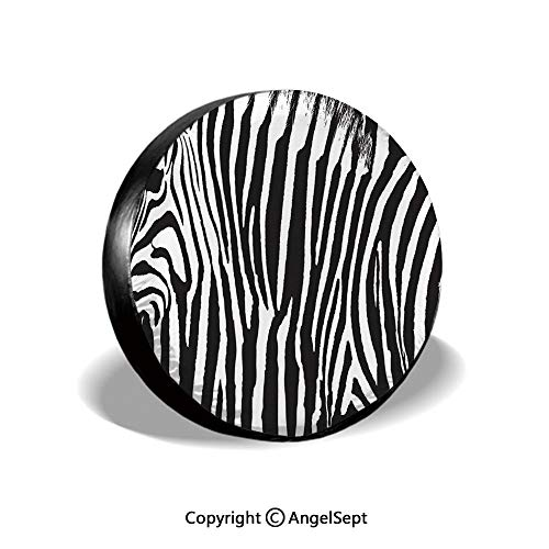 Spare Tire Cover,Zebra Design with Animal Blended Over Itself to Create an Abstract Pattern Decorative,Black White,for Jeep,Trailer, RV, SUV and Many Vehicle 15