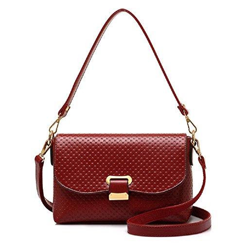 CELO Nuevas señoras europeas y americanas del bolso bolso de hombro elegante pequeño cuadrado de la moda de alta calidad de la bolsa de mensajero , black wine red
