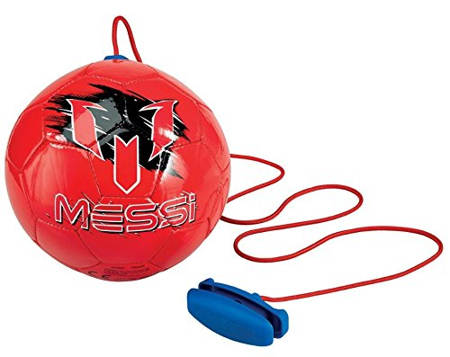 Soccer Ball Rebounder Adjustable (Leo Messi Soccer Ball | Take Your Skills to the Next Level | Solo Youth Soccer Football Kick Throw Trainer with Adjustable Control Cord | Perfect for Kids Soccer Practice & Drills, Size 2 (Red))