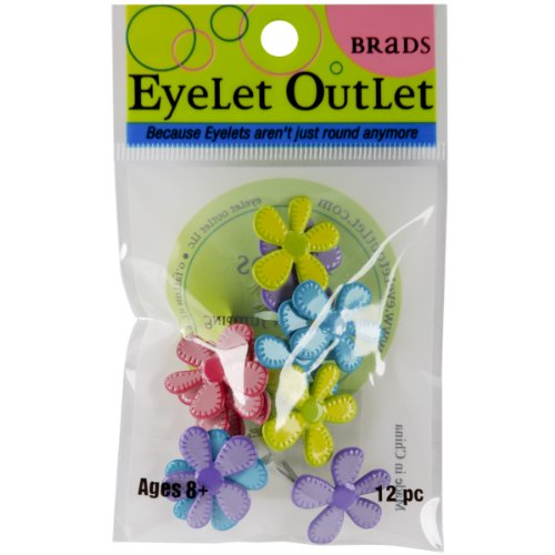 Eyelet Outlet Stitched Bright Flower Brads,12 (Eyelet Outlet Brads Scrapbooking)