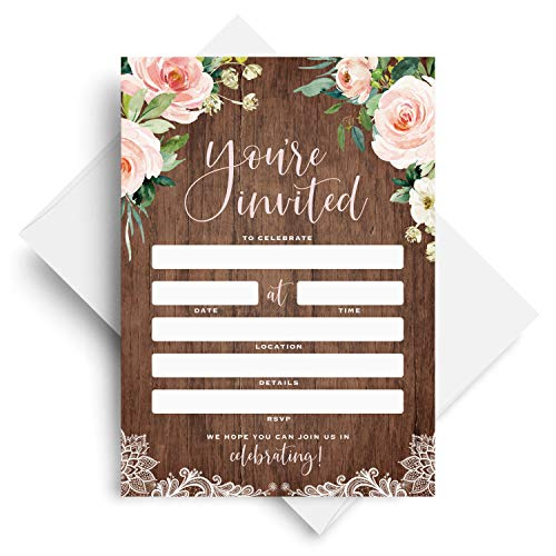 25 Rustic Invitations with Envelopes for All Occasions, Wood and Floral Invites Perfect for: Weddings, Bridal Showers, Engagement, Birthday Party, Anniversary or Special Event - Fill in Cards -
