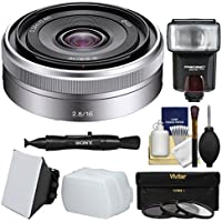 Sony Alpha E-Mount E 16mm f/2.8 Lens with Flash + Soft Box + Diffuser + 3 Filters Kit for A7, A7R, A7S Mark II, A5100, A6000, A6300 Cameras