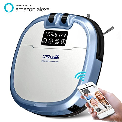 XShuai C3 Smart Robot Vacuum Cleaner Siri & Alexa Voice Control Camera  Video Chat Schedule Cleaning Auto-Charge 5 Cleaning Modes HEPA Filter Pet  Fur