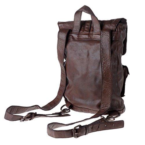 DUDU Brown 2 piel en Cocoa vivido estilo teñida vintage Mochila correas prenda ROx1qF