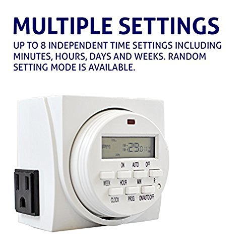 Timer for outdoor light socket amazon comforday 7 day programmable digital timer use indoor and outdoor with dual outlets aloadofball Image collections