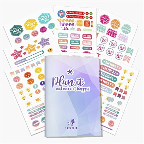 Savvy Bee Planner Stickers | Decorative Inspirational, Holiday & Productivity Stickers & Supplies | Adhesive Journal Stickers and Accessories for Labeling & Decorating | 20 Sheets 700+ Stickers!