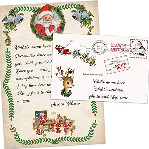 as letter from Santa Claus to Child with envelope Father Christmas North Pole ()