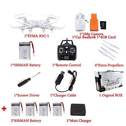 100% (Upgrade Version) RC Drone with 2MP HD Camera 6-Axis RC Quadcopter Helicopter X5 Dron Without Camera,X5C 5 ()