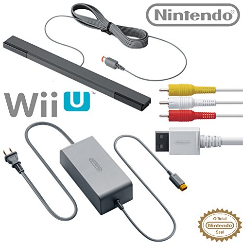 Accessory Kit Wii (Nintendo Wii U Accessory Kit - AC Adapter WUP-002, Composite AV Cable RVL-009, and Sensor Bar RVL-014 - OEM Original Nintendo Wii U Accessories)