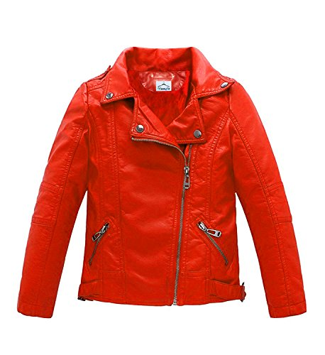 fccce07cd2f6 VearFit Trango Red Girls Kids Todller Real Leather Jacket