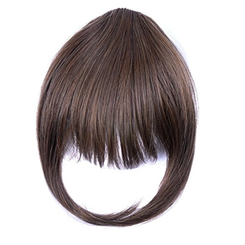 Ty.Hermenlisa Synthetic Clip in Hair Bang Extensions Heat Resistant Short Straight Fringe Hairpiece Accessory, 1Pc, 20g, Taylor-Chocolate Brown (20g Chocolate)