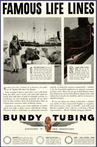 (SUEZ Canal Scene in 1941 Bundy Fuel LINE TUBING AD Original Paper Ephemera Authentic Vintage Print Magazine Ad/Article)