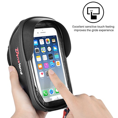 Bike Bag, Waterproof Touch Screen Bicycle Handbar Front Phone Frame Bag Holder For iPhone 8 7 Plus 6s 6 plus 5s 5 / Samsung Galaxy s7 s6 note 7 Cellphone Below 6.0 Inch With Sun Visor by Beneland (Image #6)