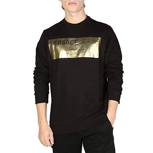 Versace Jeans Felpa Uomo Originale Black: Amazon.it
