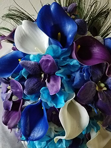 Purple Blue Turquoise Orchid Calla Lily Bridal Wedding Bouquet & - Lily Calla Orchid Bouquet