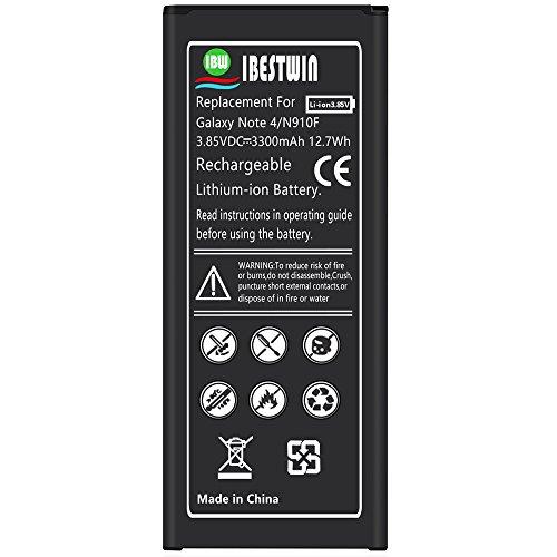 Note 4 Battery IBESTWIN 3300mAh Li-ion Replacement Battery for Samsung Galaxy Note 4 N910, N910V, N910A, N910T, N910P, N910R4, N910U 4G LTE, N910F [3 Years Warranty] by IBESTWIN