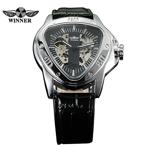 WINNER Men's Personality Triangle Dial Auto Mechanical Wrist Watch Leather Strap
