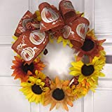 great country fireplace mantel style Sunflower Lovers Small Wreath-Pumpkin Pattern Bow-Corns