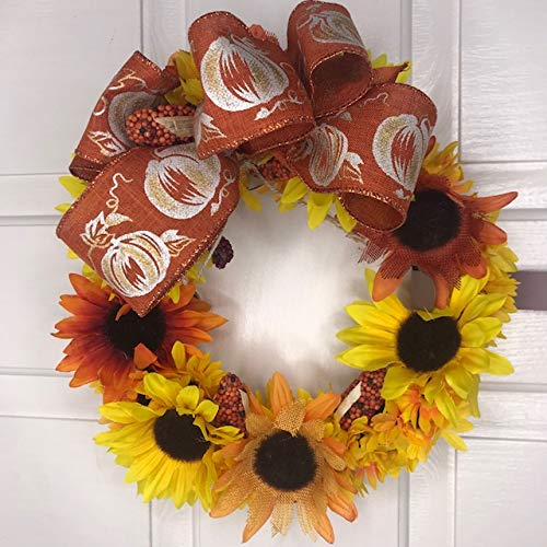 Sunflower Lovers Small Wreath-Pumpkin Pattern Bow-Corns