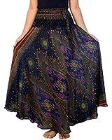 Lannaclothesdesign Women's Long Maxi Skirt Bohemian Gypsy Hippie Style Clothing (US Size 0-16, Dark Blue Flower Eye)