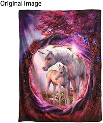 Gift Oil Paintings Cool Unicorn Horse Flower Star Hooded Blanket Cloak Sofa Throw