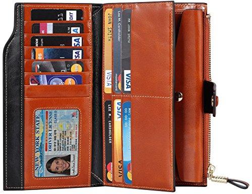 Travelambo Womens RFID Blocking Large Capacity Luxury Waxed Genuine Leather Clutch Wallet Multi Card Organizer (tan) by Travelambo (Image #2)