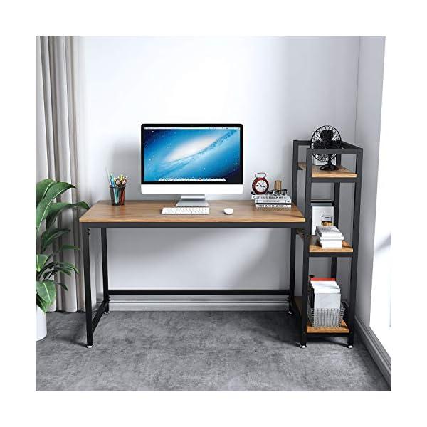 Dripex Table Bureau d'Ordinateur avec 3 Étagères de Rangement, Bureau Industriel et Poste de Travail en Bois et Métal…