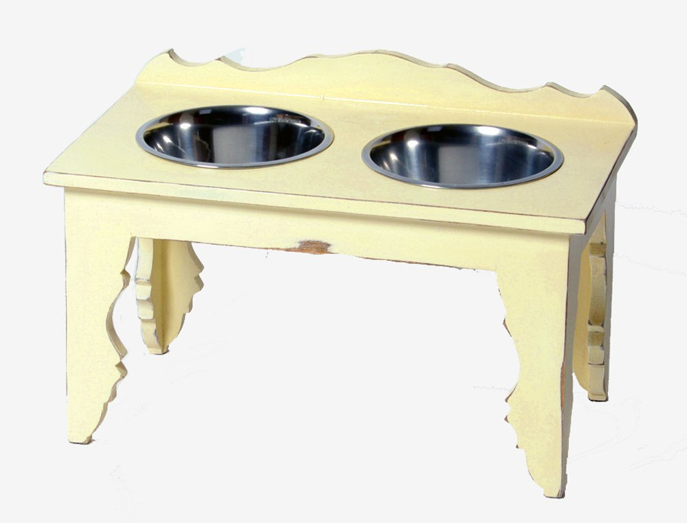 Large Wooden Raised Elevated Dog Bowl ''Shabby Chic''- Deluxe Pet Diner