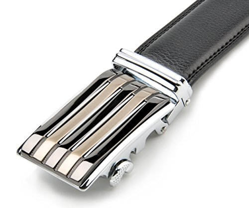 Mens Dress Leather Belt with Sliding Ratchet Automatic Removable Silver Buckle 3.5cm (Braided Snap Belt Strap)