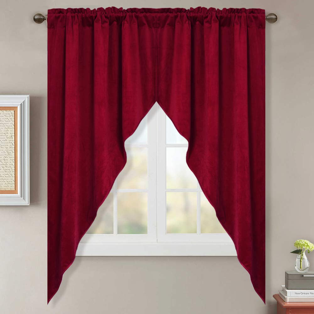 StangH Velvet Valances and Swags Pair - Christmas Red Velvet Drapes for Bedroom/Dining Decoration, W35 x L63, 2 Panels by StangH