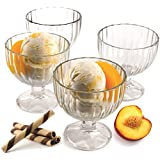 Circleware Passion Footed Glass Ice Cream Dessert Dish Bowl , Set of 4, 9 Ounce Each, Limited Edition Glassware Serveware