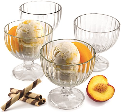 Milk Glass Footed Bowl (Circleware Passion Footed Glass Ice Cream Dessert Dish Bowl , Set of 4, 9 Ounce Each, Limited Edition Glassware Serveware)